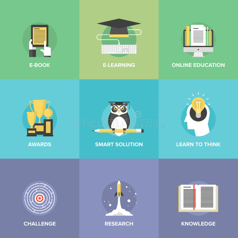 E-learning flat icons set vector illustration