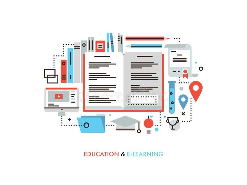 E-learning flat line illustration stock illustration