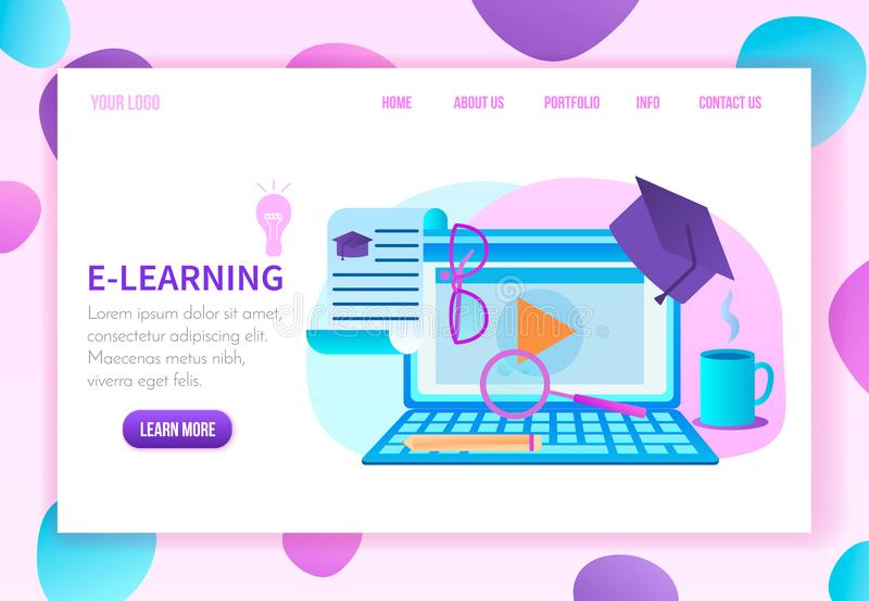 Online Education Courses Service Web Page Template royalty free illustration