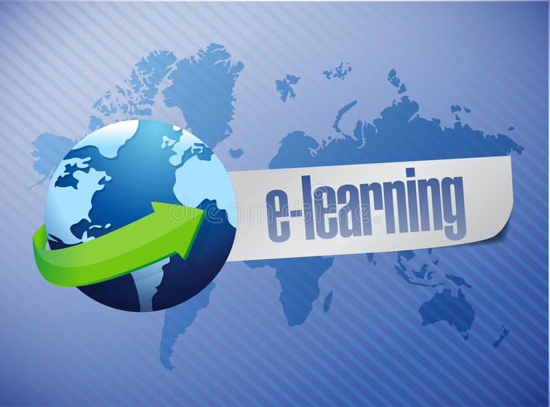 E learning globe concept illustration design stock illustration