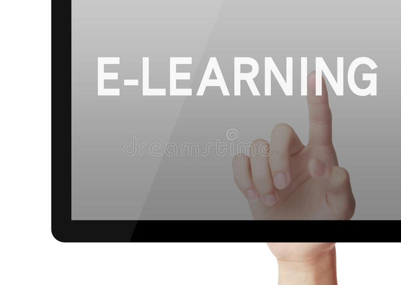 E-Learning. Hand touch E-Learning on screen royalty free stock photo
