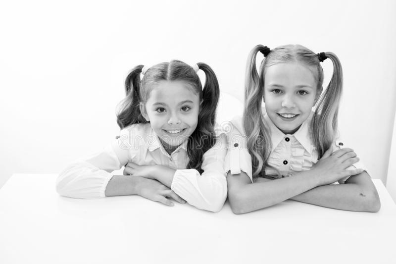 E learning. happy childhood od cute little girls. e learning for little girls isolated on white. royalty free stock photography