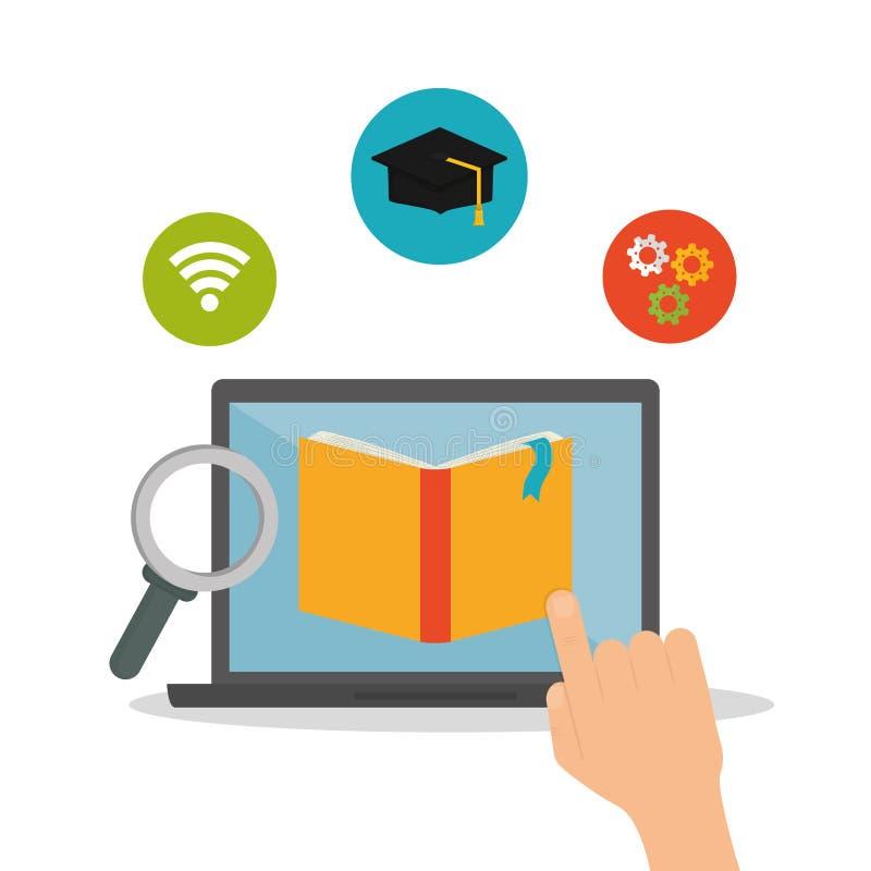E-learning icon design. Study, laptop.