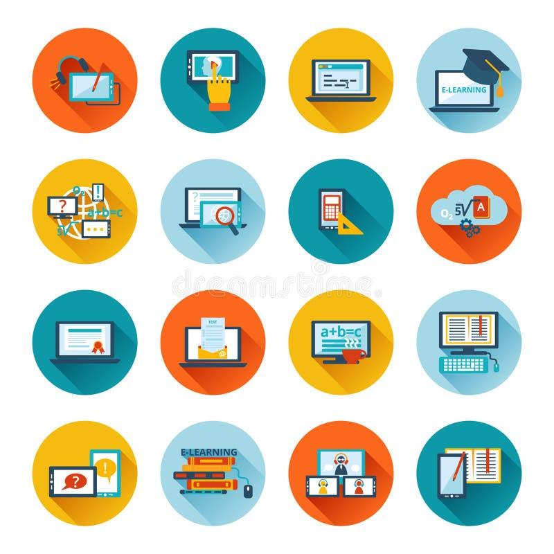 E-learning icon flat. Online education e-learning university webinar student seminar graduation flat icons set vector illustration stock illustration