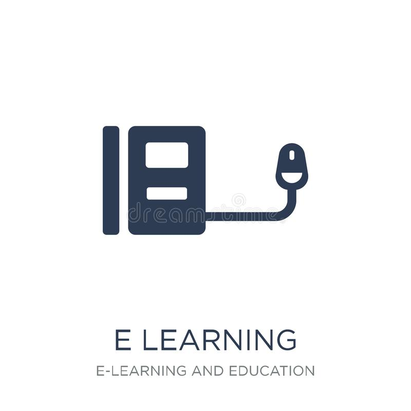 E learning icon. Trendy flat vector E learning icon on white background from E-learning and education collection stock illustration