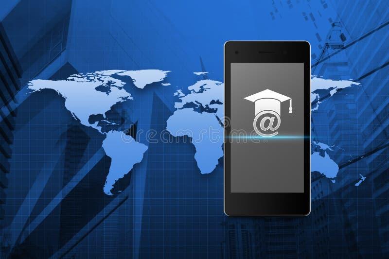 E-Learning-Ikone auf modernem intelligentem Telefonschirm über Karte und Stadt t stock abbildung