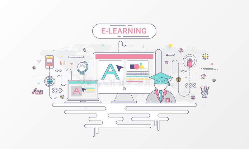 E learning infographic banner computer and online education icons download e learning infographic banner computer and online education icons on world map background gumiabroncs Images