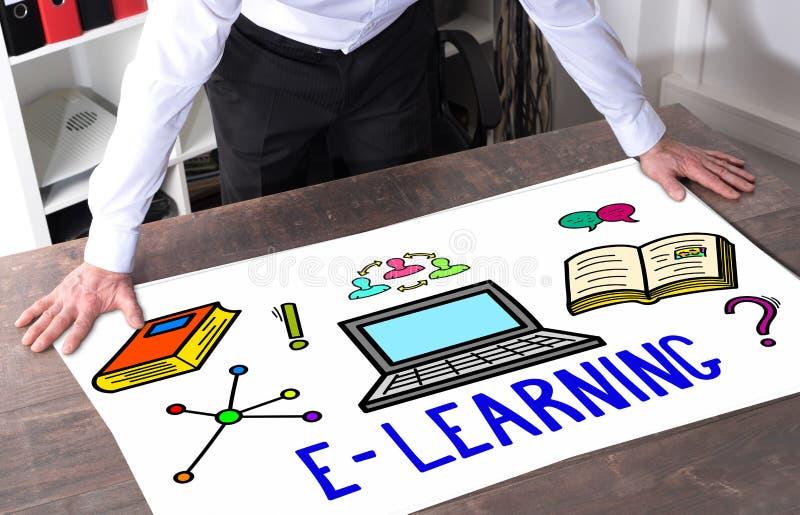 E-Learning-Konzept auf einem Schreibtisch stock abbildung