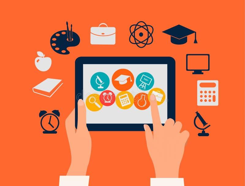 E-Learning-Konzept. Hände, die eine Tablette mit e berühren vektor abbildung