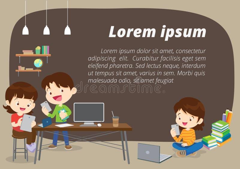 E-Learning-Konzept-Hintergrundillustration vektor abbildung