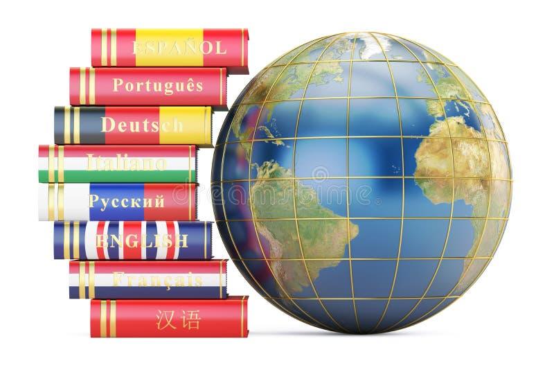 E-Learning-Konzept, Wörterbücher mit Kugel-Erde Wiedergabe 3d vektor abbildung