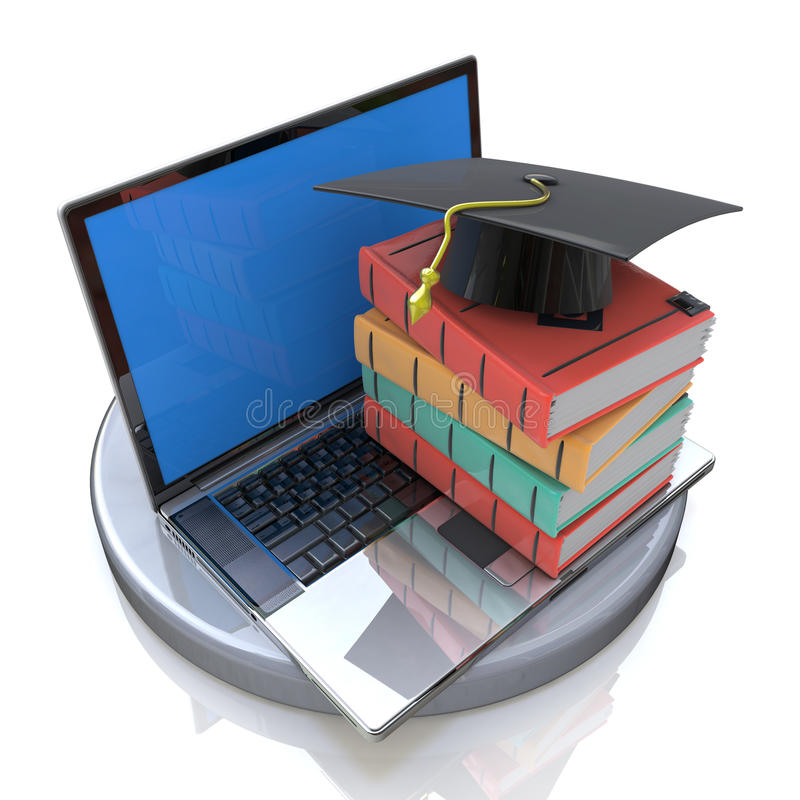 E-learning on Laptop stock photos