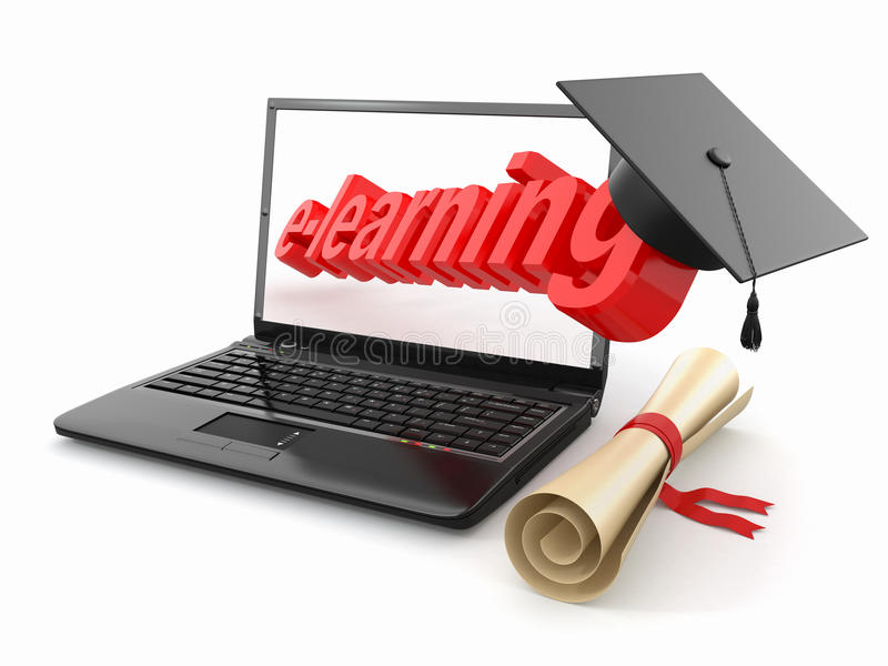 E-learning. Laptop, diploma and mortar board. stock illustration