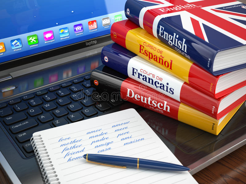 E-learning. Learning languages online. Dictionaries on laptop. stock illustration