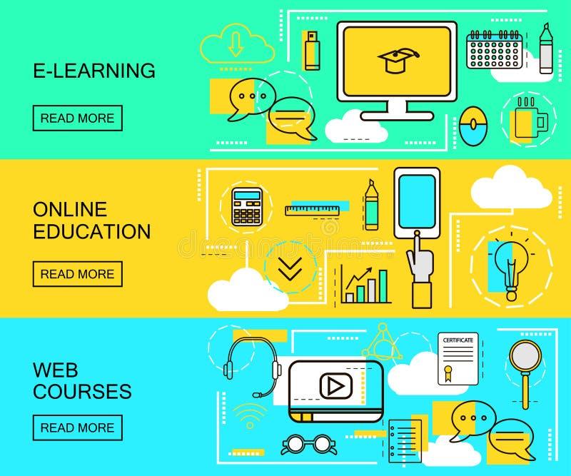 E-Learning, on-line-Bildung und horizontale Fahnen der Netz-Kurse Fernunterrichte Studien-Ikonen mit dünner Linie Art Vektor illu lizenzfreie abbildung