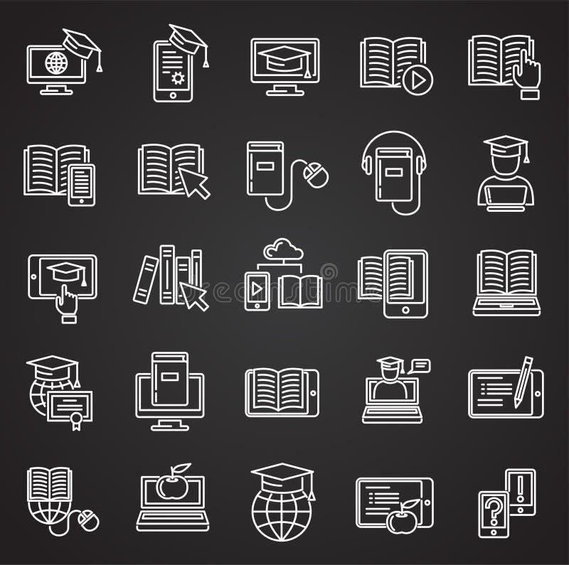 E-Learning line icons set on black background for graphic and web design, Modern simple vector sign. Internet concept. Trendy. Symbol for website design web vector illustration