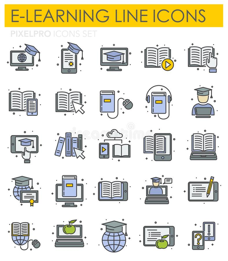 E-Learning line icons set on white background for graphic and web design, Modern simple vector sign. Internet concept. Trendy. Symbol for website design web stock illustration