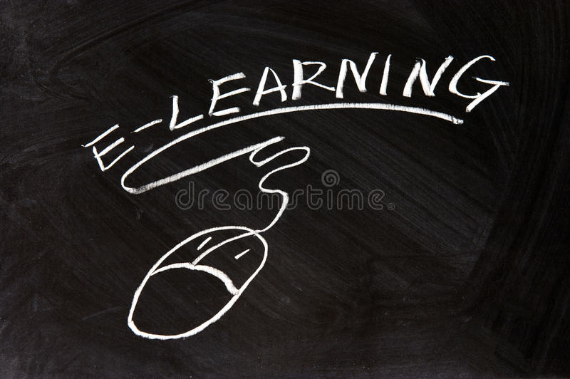 E-Learning and a mouse sign. Drawn on chalkboard stock photos
