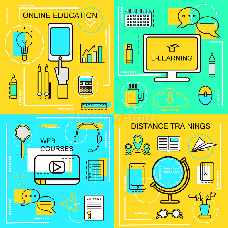 E-learning, Online Ecucation, Web Courses and Distance trainings concept. Thin Line icons. Vector Illustration. Banners for web ,. Network, site, social media vector illustration