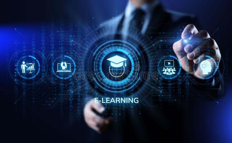 E-learning Online Education Business Internet concept on screen. stock photos