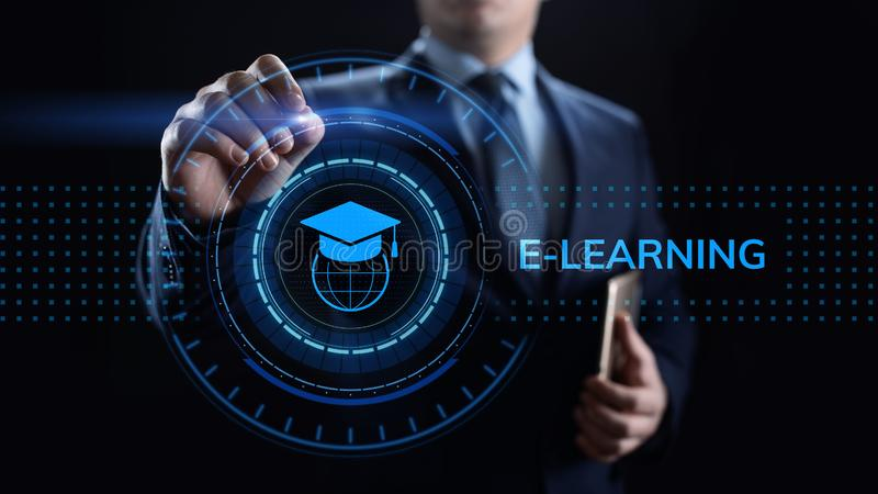 E-learning Online Education Business Internet concept on screen. royalty free stock image