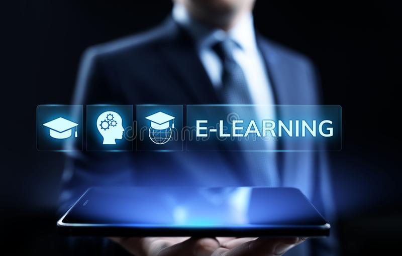 E-learning Online Education Business Internet concept on screen. stock images
