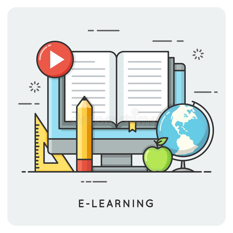 E-learning, online education. Flat line art style concept. vector illustration