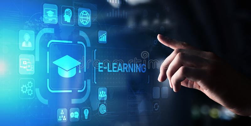 E-learning, Online education, internet studying. Business, technology and personal development concept on virtual screen stock photos