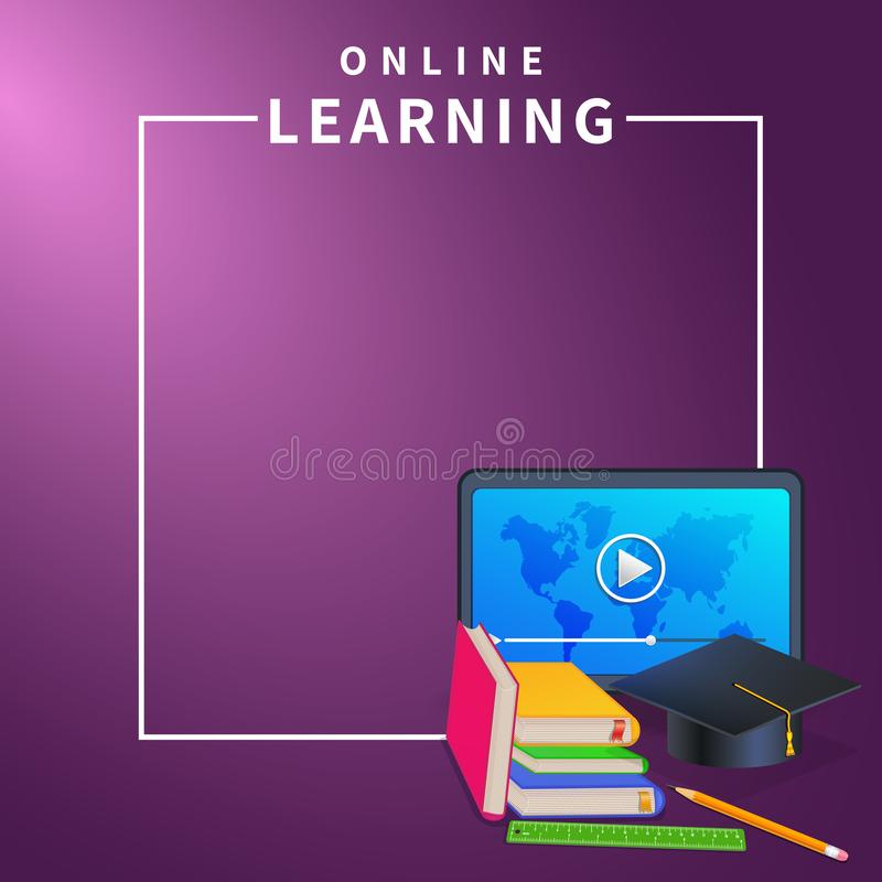E-learning or online education web banner on purple background with frame border. Online training courses, video tutorials stock illustration