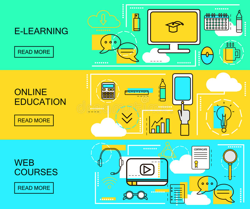 E-learning, Online Education and Web Courses horizontal banners. Distance Trainings. Study Icons with thin line style. vector. Illustration Eps 10 royalty free illustration