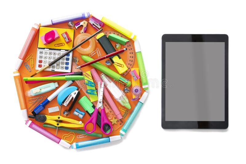 E-learning online learning with tablet PC and school supplies on white royalty free stock image