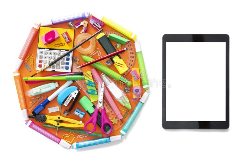E-learning online learning with tablet PC and school supplies on white royalty free stock photo