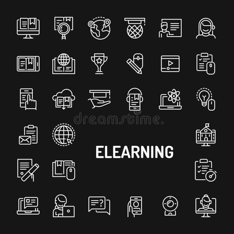 E-learning & Online Training Simple Line Icon Set. Simple white line icons isolated over black background related to Electronic media learning & online training stock illustration