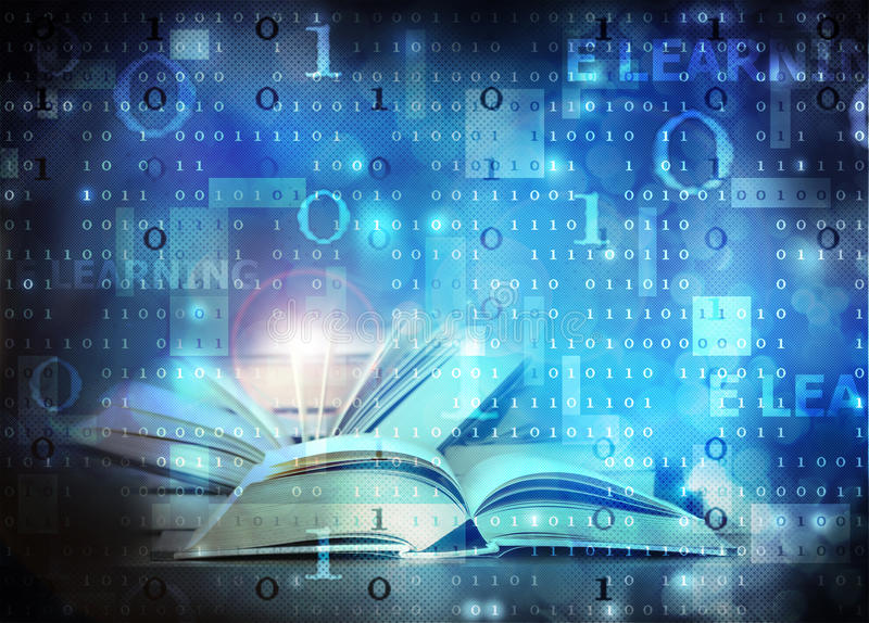E learning. Open books within computer e learning concept
