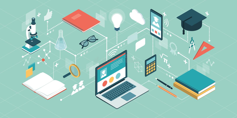 E-Learning-Plattform und on-line-Kurse stock abbildung