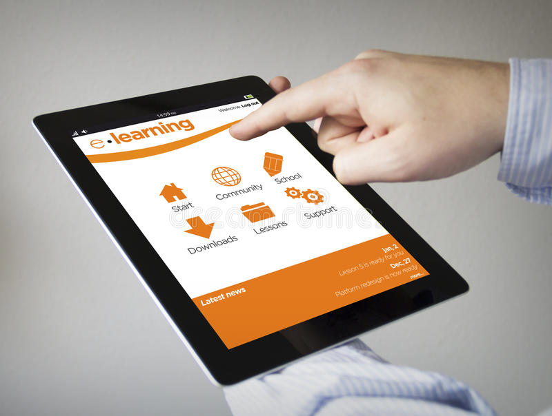 E-learning on a tablet stock images