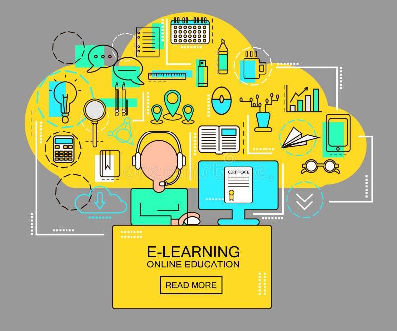 E-Learning und on-line-Bildungskonzept mit Studenten mit Computer- und Studienikonen Dünne Linie Vektorillustration stock abbildung