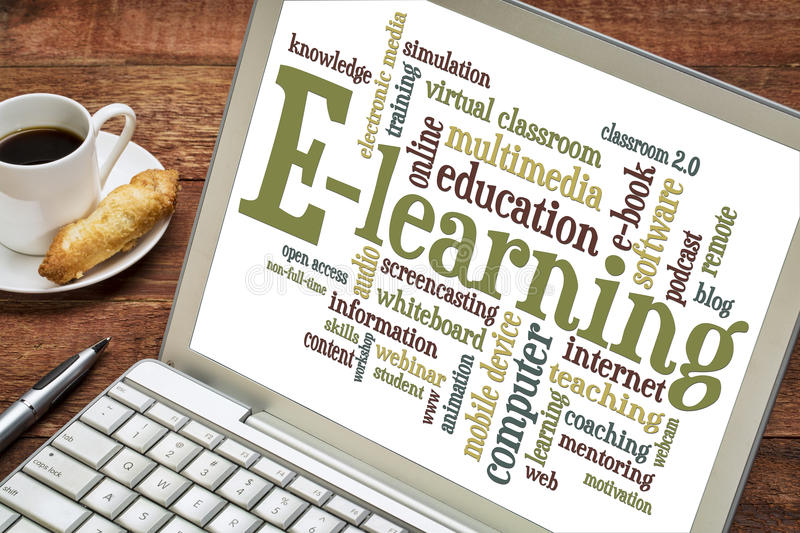 E-learning word cloud on laptop royalty free stock photos