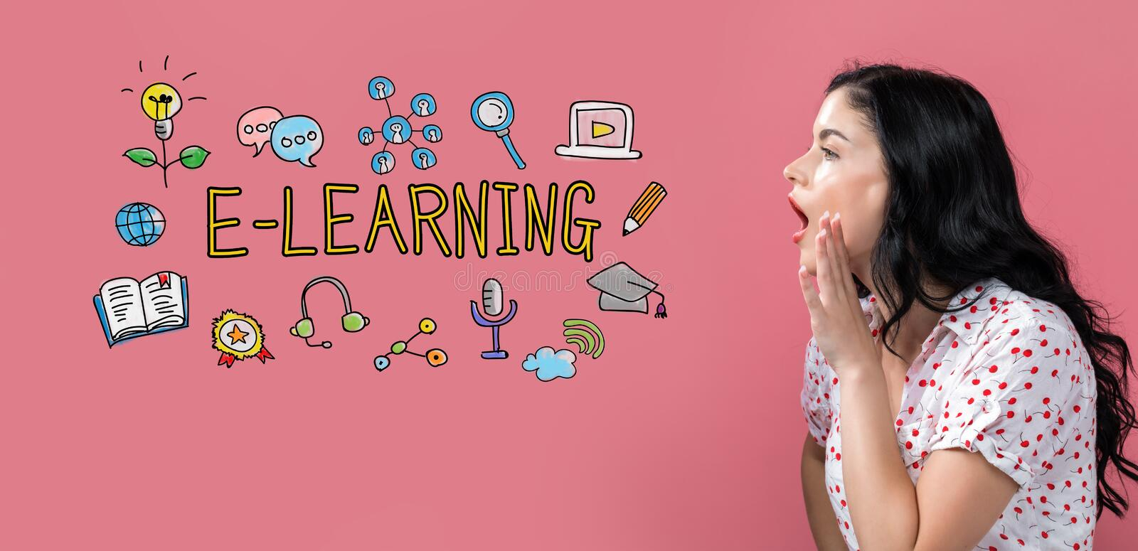 E-Learning with young woman speaking royalty free stock photo