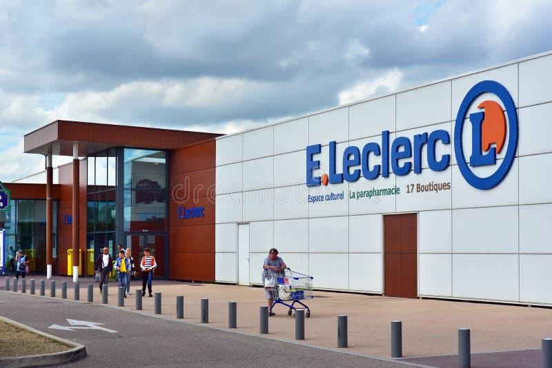 e Leclerc超级市场 免版税图库摄影