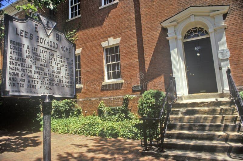 e lee Robert Fusy chłopięctwa dom w Starym Grodzkim Aleksandria, Aleksandria, Waszyngton, DC obraz stock