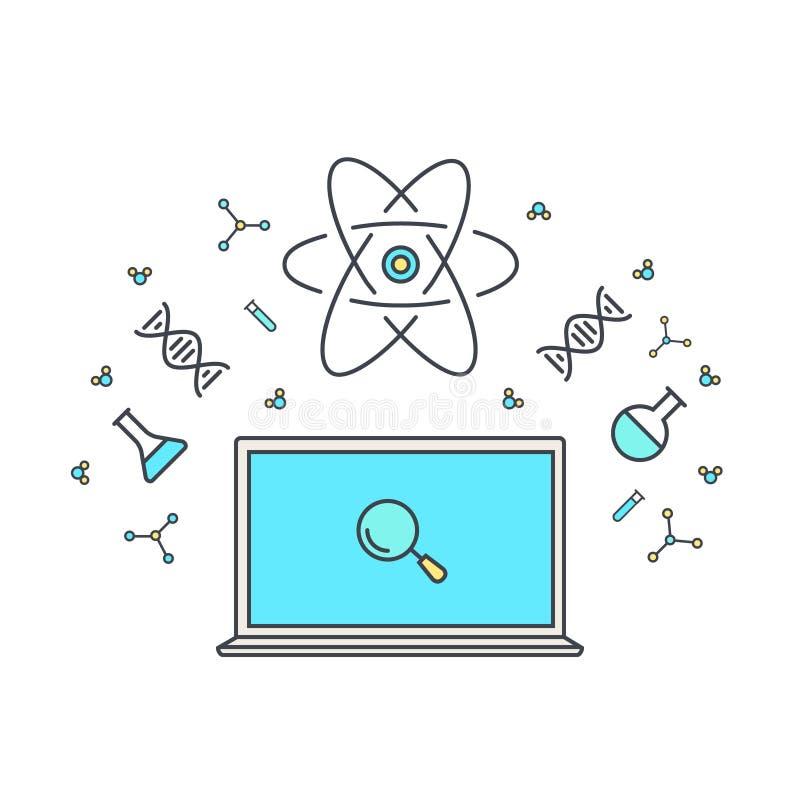E-leert en online onderwijs Internet als kennisbank Chemische en fysieke elementen van energie, DNA, microscoop stock illustratie
