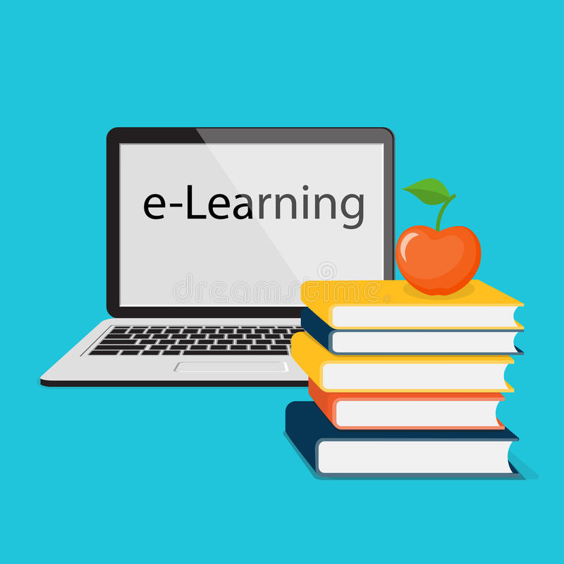E-leert met laptop royalty-vrije illustratie