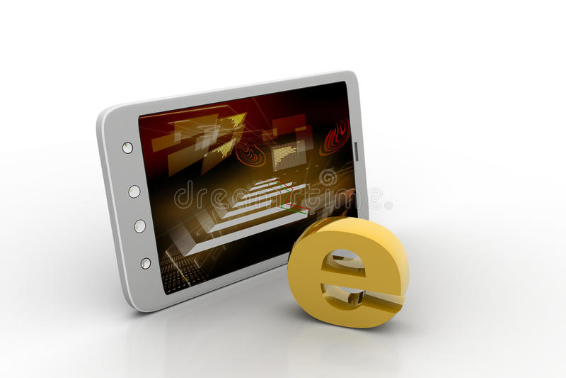 E-leert op Digitale tablet vector illustratie