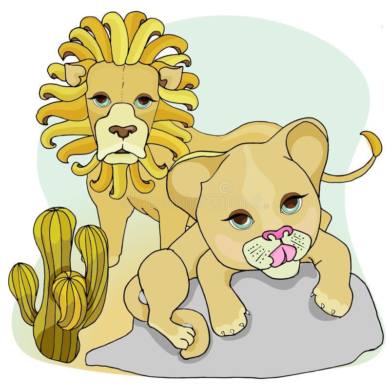 E Lejon och lejongr?ng?ling vektor illustrationer