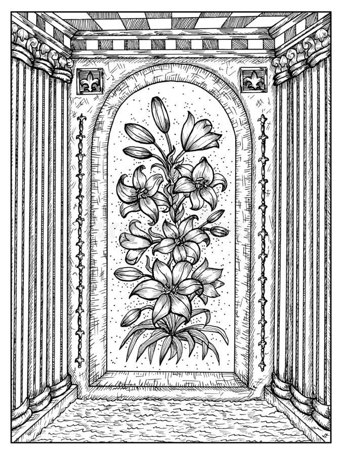 E Lenormand oracle占卜用的纸牌的黑白神秘的概念 库存例证