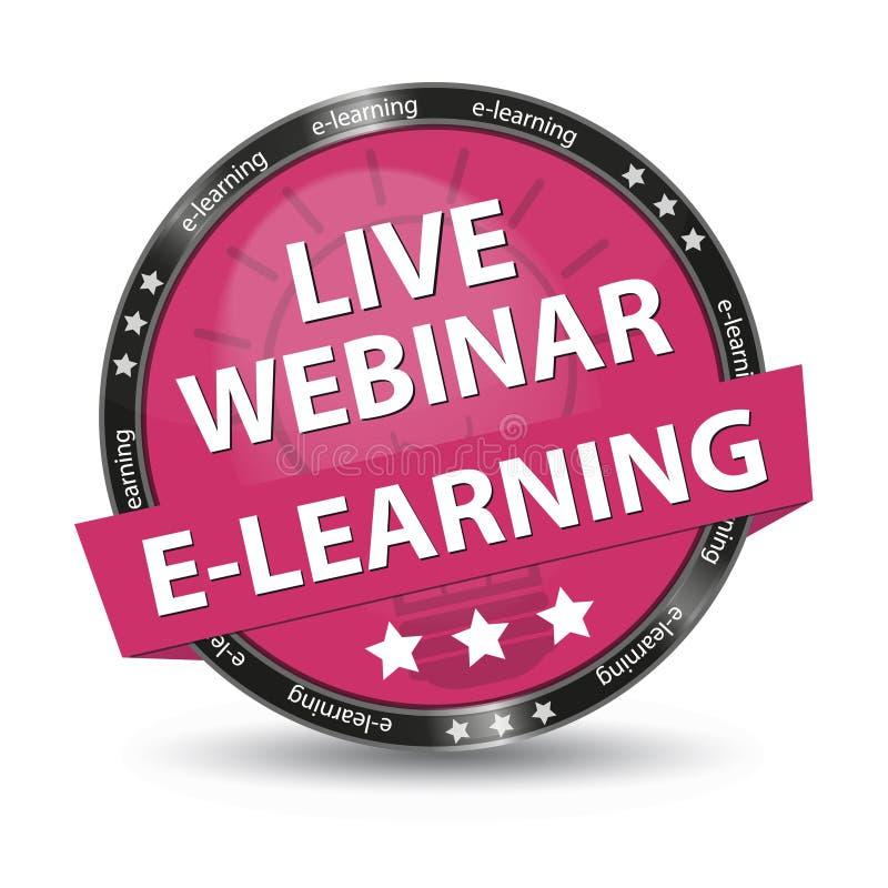 E-lerend Live Webinar Pink Glossy Button - Vectorillustratie stock illustratie