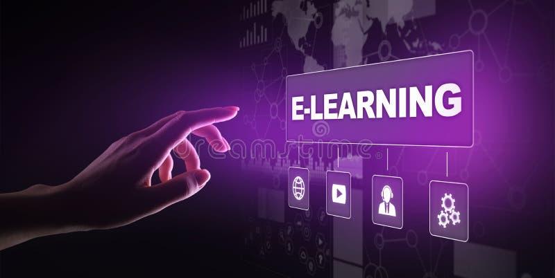 E-lerend, Online onderwijs, Internet-het bestuderen Zaken, technologie en persoonlijk ontwikkelingsconcept op het virtuele scherm stock afbeelding