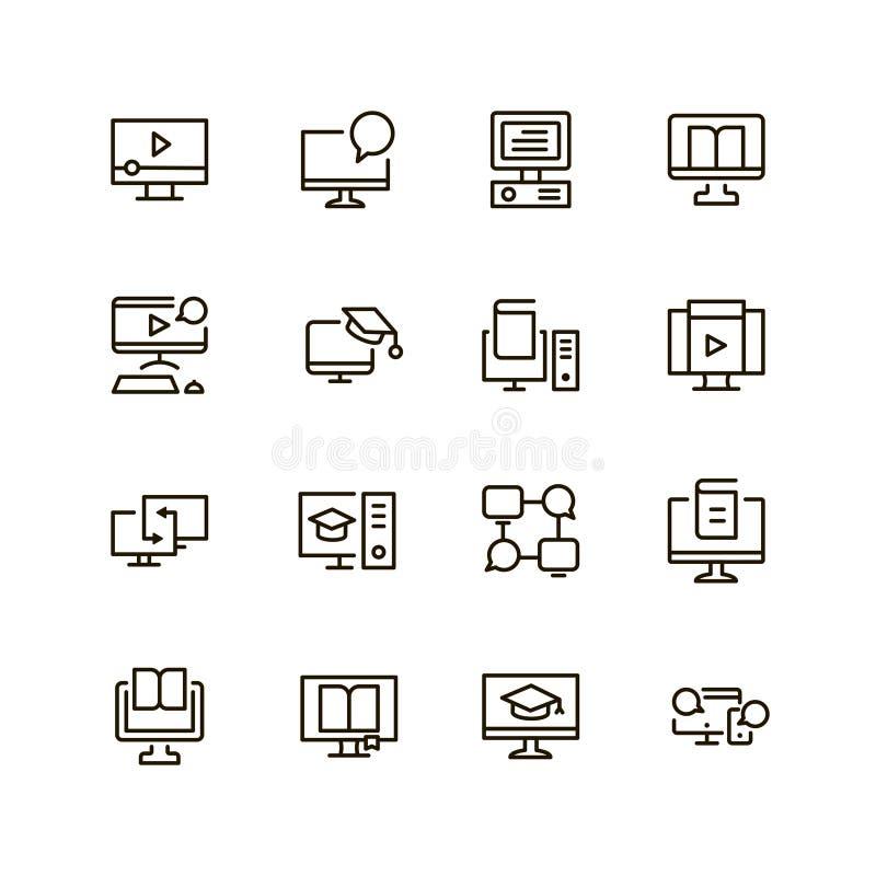 E-lerend vlak pictogram stock illustratie
