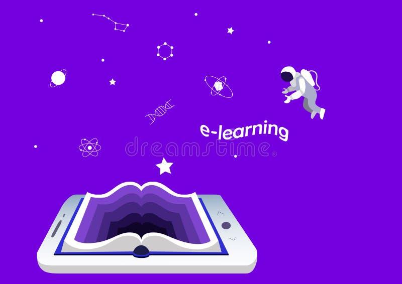 E-lerende concept, opleiding en onderwijs smartphone of tablet als boek Wetenschap en kennis vector illustratie